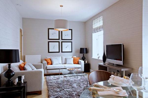 geri beyaz küçük oturma odası dekorasyonu