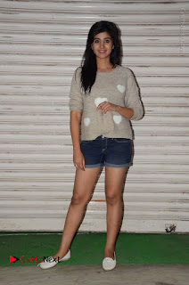 Actress Model Shamili (Varshini Sounderajan) Stills in Denim Shorts at Swachh Hyderabad Cricket Press Meet  0029.JPG