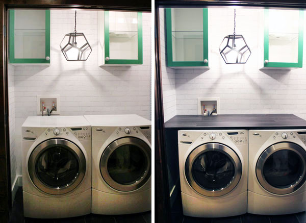 By Extending The Counter All Way To Wall On Left Side Of Washer And At Back Dryer We Gained Extra Usable E For