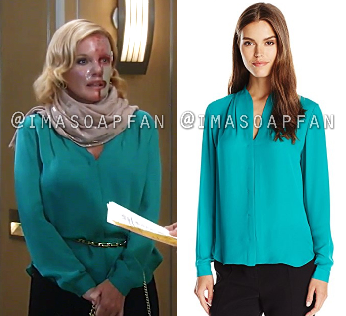 Ava Jerome, Maura West, Teal Silk Blouse, General Hospital, GH