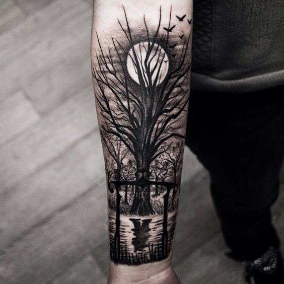 Scary Tree Tattoos on Forearm