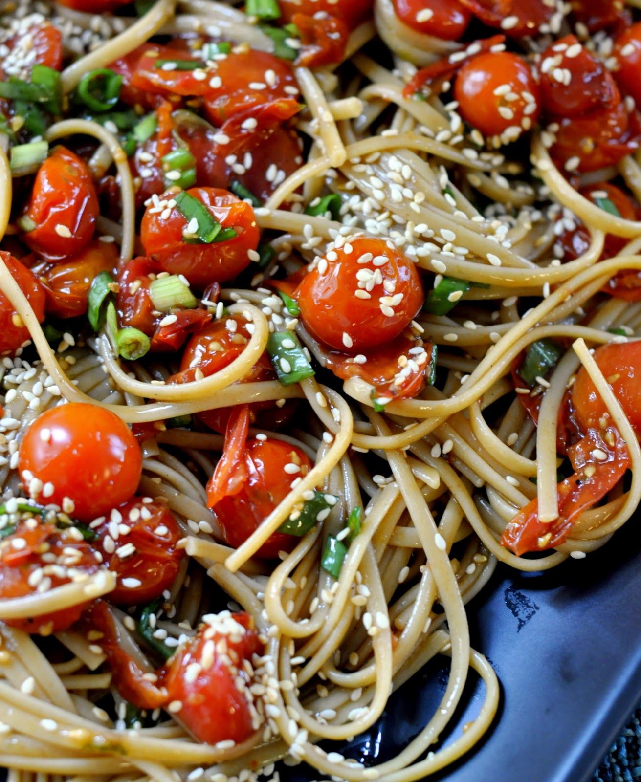 Whole Wheat Linguine with Roasted Tomatoes and Asian-Inspired Vinaigrette   Taste As You Go