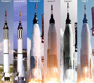 Comparison photos of the iterations of Mercury rockets