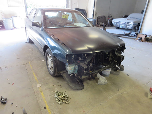 Toyota Avalon in process of collision repairs at Almost Everything Auto Body