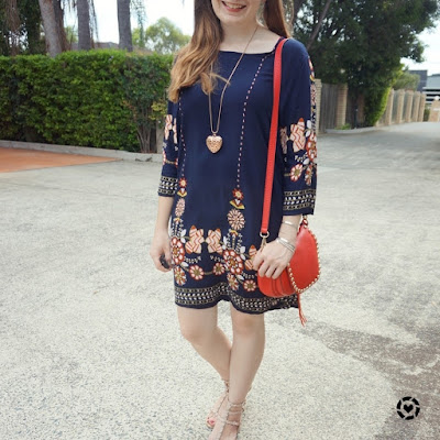 awayfromblue instagram rebecca minkoff sandals saddle bag, Shein navy flower print flowy dress