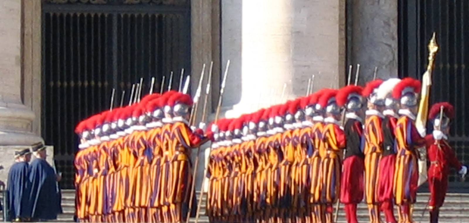 The Swiss Guard in St Peters Square, Rome
