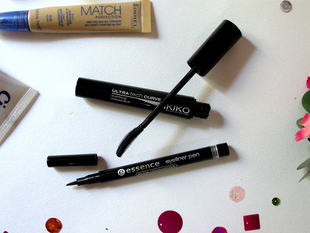 Essence eyeliner pen, Kiko ultra tech curve mascara