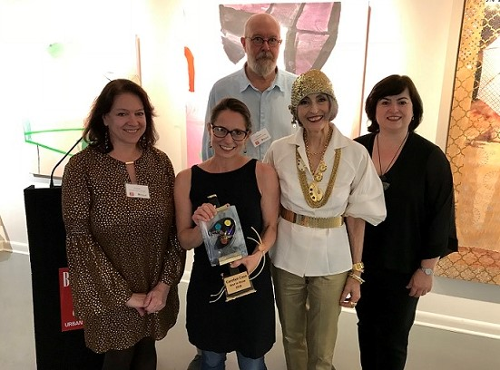 Pictured from Left to Right: Laura Roulet, 2018 Painting Awards Judge; Carolyn Case, 2018 Bethesda Painting Awards Winner; Bill Schmidt, 2018 Painting Awards Judge; Carol Trawick, Founder of the Painting Awards; Catriona Fraser, Painting Awards Chair