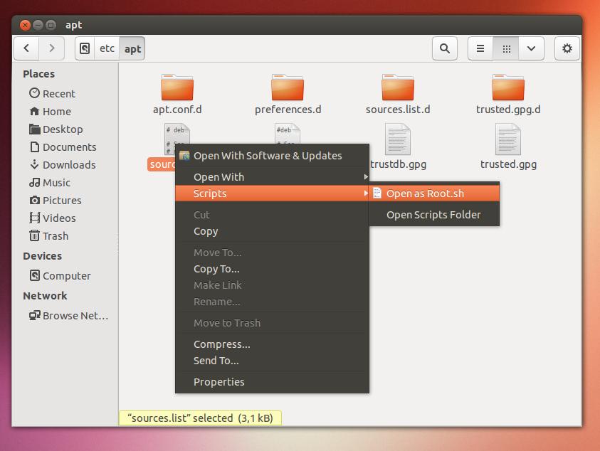 How to Enable Open as Root Nautilus on Ubuntu 13 04 Raring Ringtail