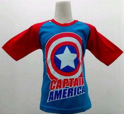 Kaos Raglan Anak Karakter Captain America 2 Biru