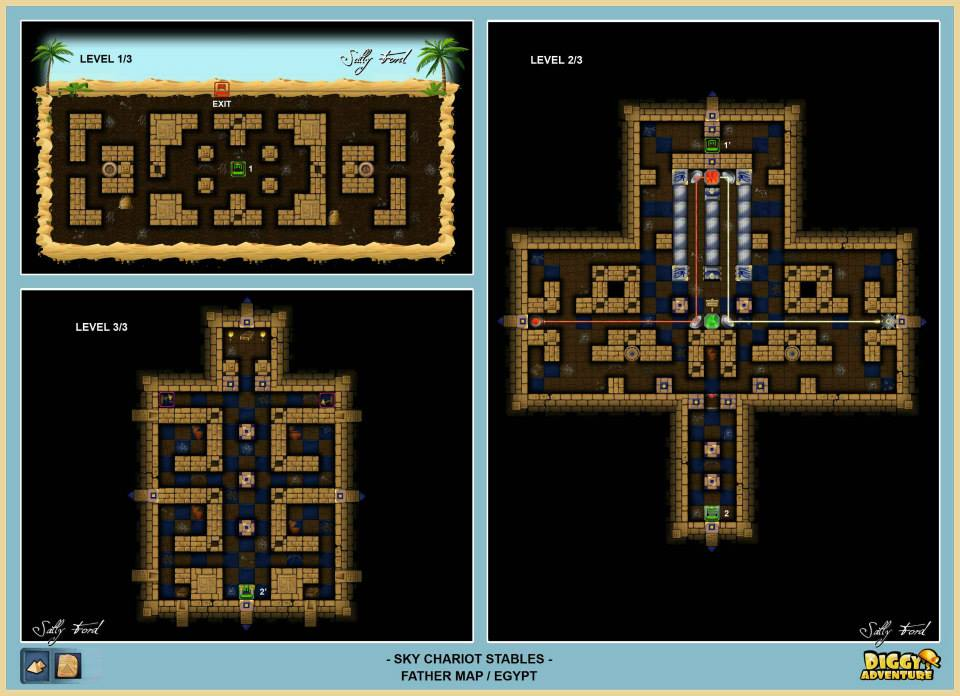 Diggy's Adventure Walkthrough: Egypt Father Quest / Sky Chariot Stables