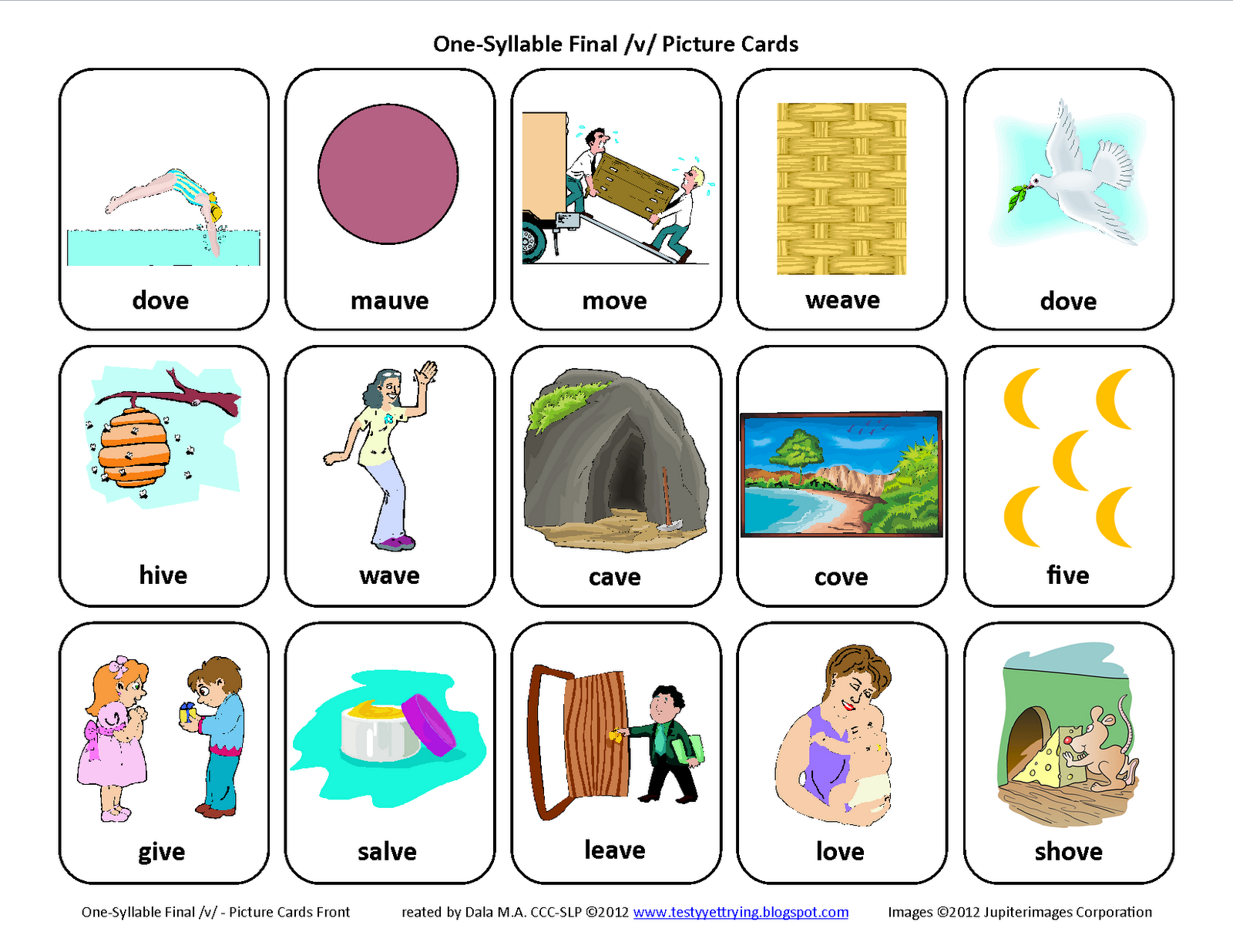 Testy Yet Trying Final V Free Speech Therapy Articulation Picture Cards