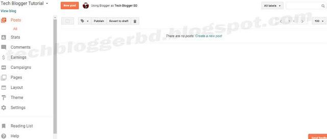 Blogger Dashboard Settings