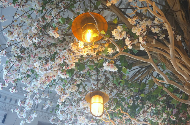 tree in the interior of The Florist, Liverpool