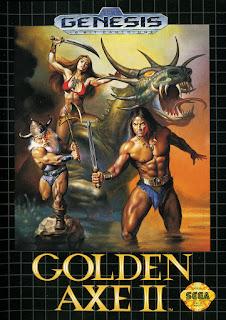 Cubierta del cartucho original de Golden Axe II para Sega Megadrive/Genesis de 1981