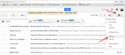 Desktop mail alerts setup in Google