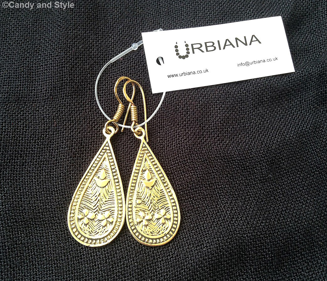 Urbiana GOLD ETCHED TEARDROP EARRING