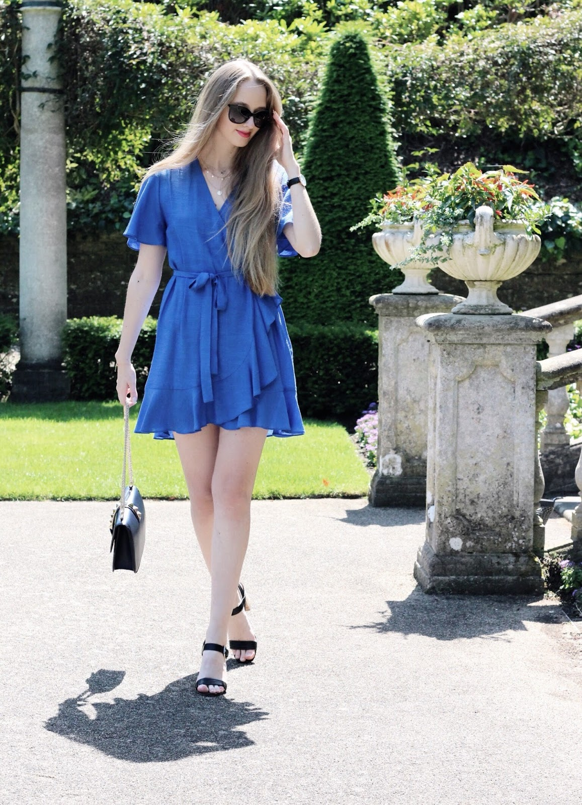 Mini Blue Wrap Dress