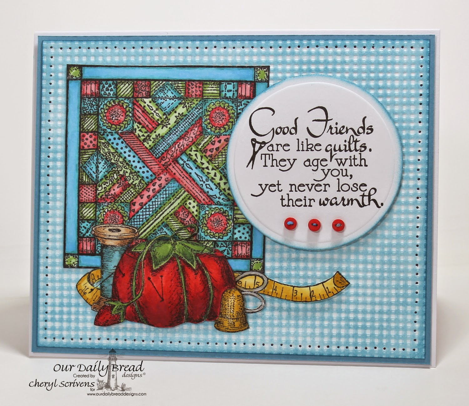 Our Daily Bread Designs, ODBDSLC213, Quilts, Pincushion Single, Spool & Tape, CherylQuilts, Designed by Cheryl Scrivens