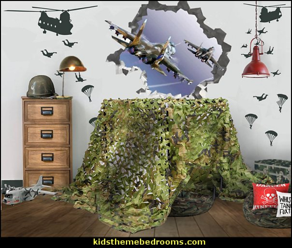 Army bedroom ideas - Army Room Decor - camouflage decorating - army bedroom accessories - Military bedrooms  - army jungle man cave -  boys army bedroom ideas - girls camo decor - Military Soldier bedrooms - military aircraft bedroom decorating ideas - Navy themed decorating -  army rooms camo themed - Airforce planes bedrooms - army tank wall decals - chopper decals -