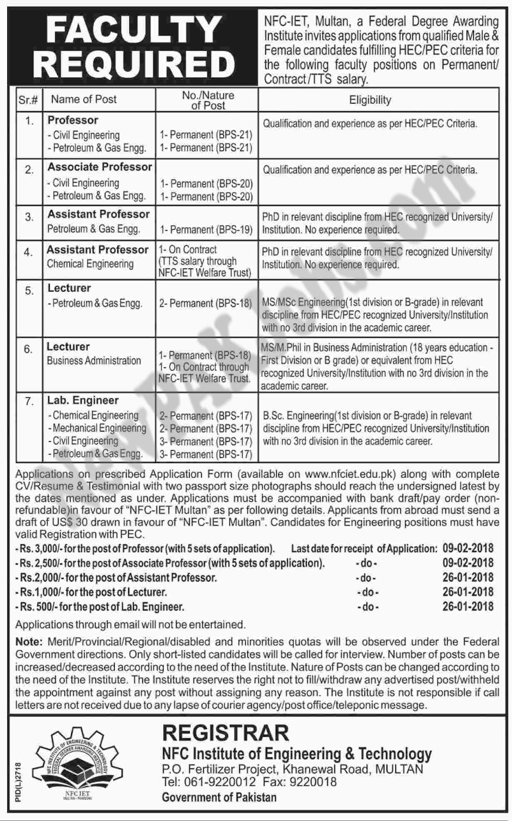 NFC Institute Of Engineering and Technology Latest Jobs 12 Jan 2018