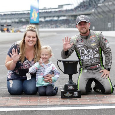 Illinois native Justin Allgaier and Family celebrate his win - #NASCAR