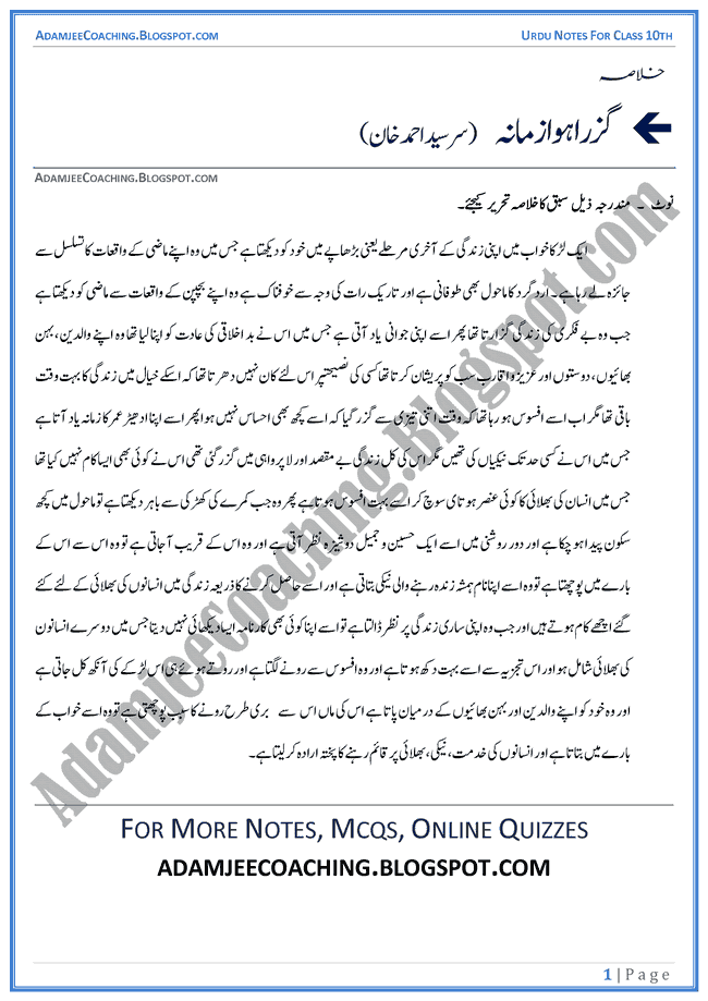 Urdu Past Papers 2018 Multan Board 10th Class