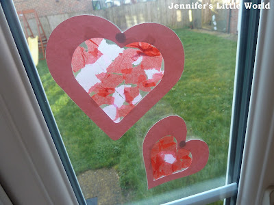 Valentine's Day craft - Heart sun catchers