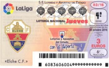 decimos loteria nacional dedicados al Elche C.F