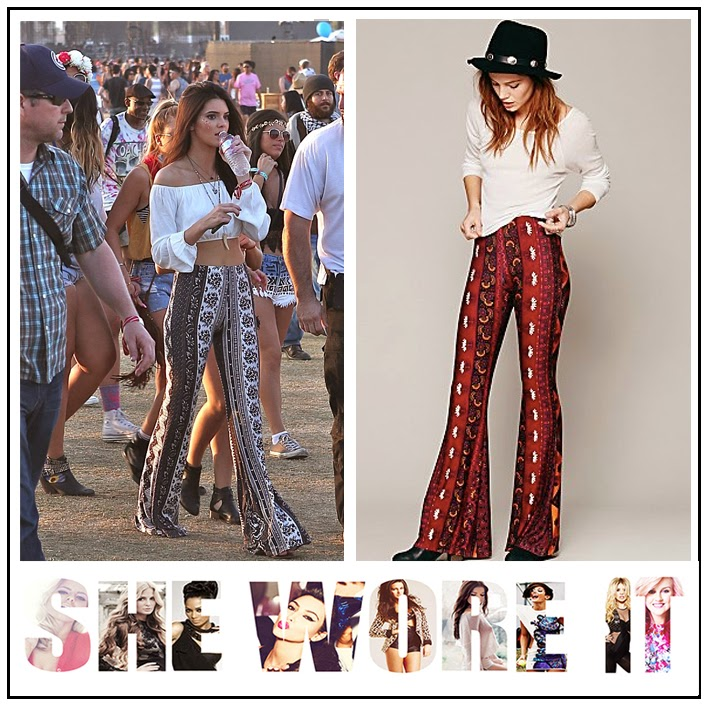 Keeping up with the Kardashians Kendall Jenner Free People Black and White Boarder Print Bell Bottom Trousers
