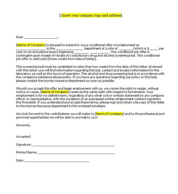 conditional job offer acceptance letter Oylekalakaarico