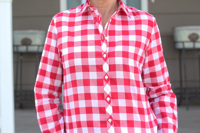 Red Gingham Archer Shirt with Ribbon trim for placket
