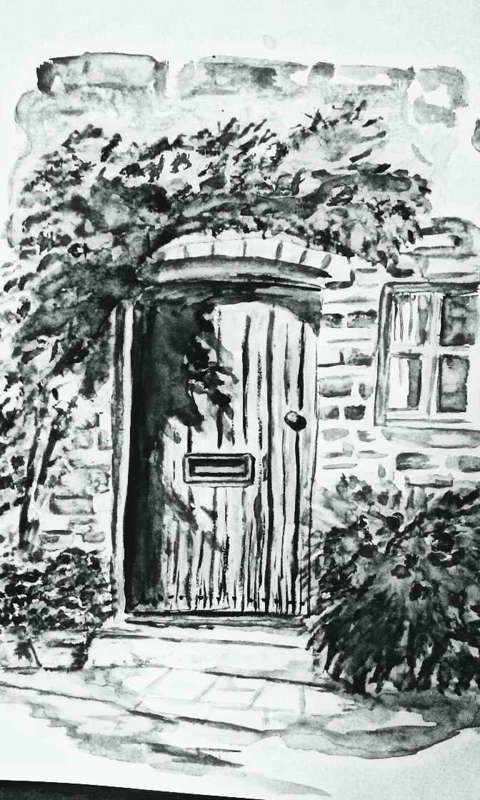 Black and white print of watercolor, doorway