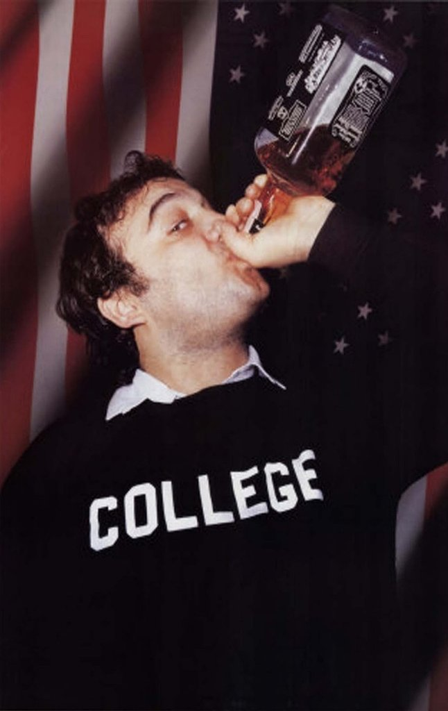 "Animal House COLLEGE sweatshirt worn by ""Bluto"" John Belushi. PYGOD.COM"