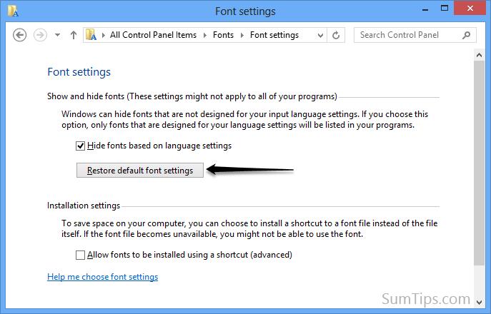 restore font settings in windows 8