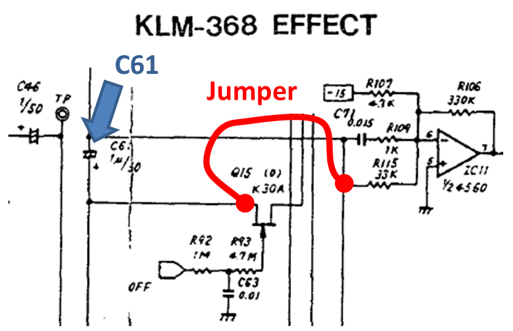 on klm-368, bypass c61 by using a jumper wire from r115 to q15