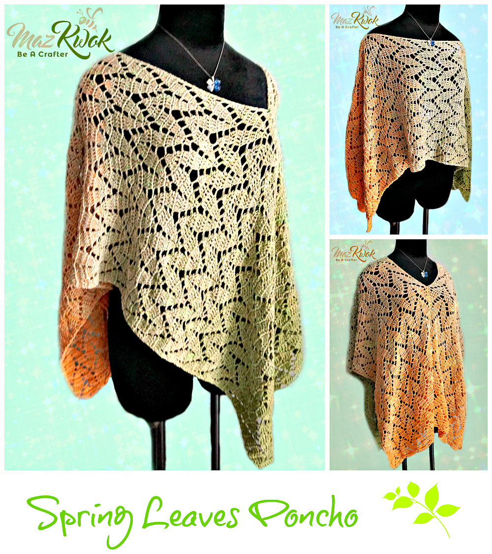 Spring Leaves Poncho - free crochet pattern