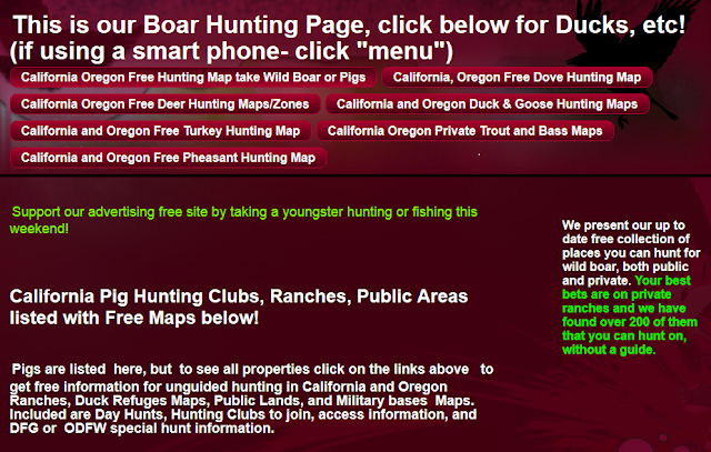 hunting and fishing clubs California Oregon, hunting fishing maps and reports Oregon and California