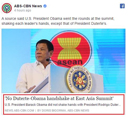 "Netizens Enraged Over The Wrong Claims Of ABS-CBN's Report: ""no Duterte-Obama handshake at East Asia Summit"""