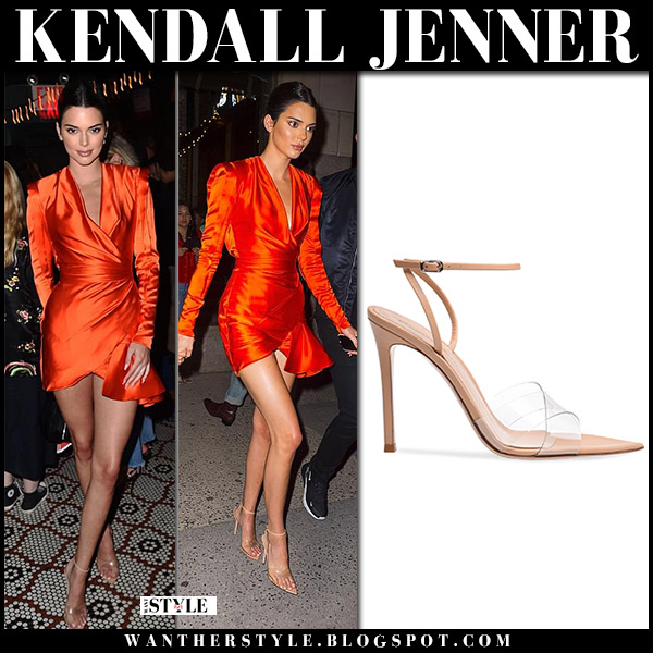 Kendall Jenner in orange mini dress and beige sandals gianvito rossi stark model style june 7