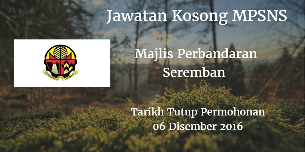 Jawatan Kosong MPSNS 06 Disember 2016