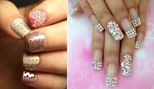 bling nail, rhinestones combi