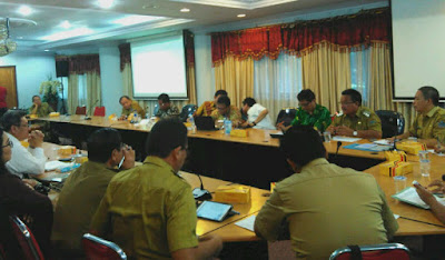 Rakor percepatan pembangunan infrastruktur dari Kemenko Maritim dan SDA yang digelar Biro SDA Sulut.