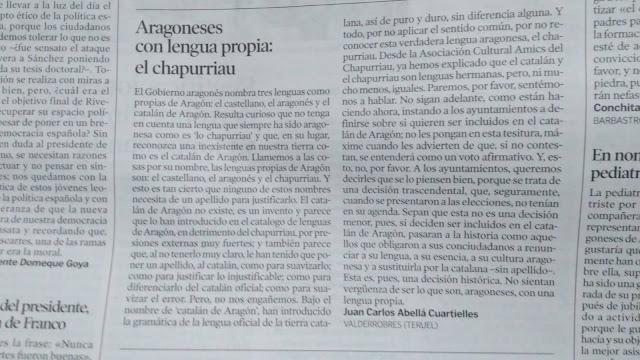 Aragoneses con lengua propia: el chapurriau, Juan Carlos Abella