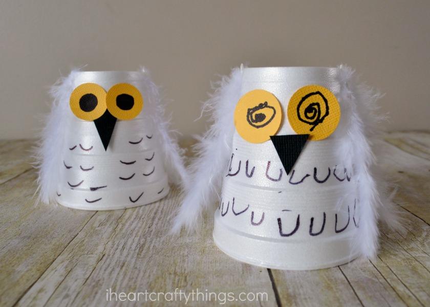 Foam Cup Snowy Owl Kids Craft