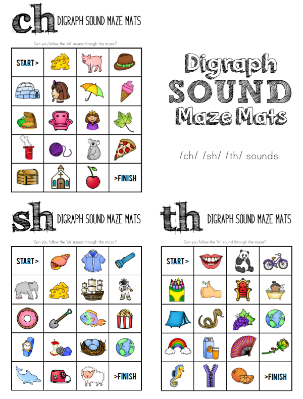 Printable Digraph Sound Maze Mats - perfect for word work in your Daily 5 lesson or as a independent literacy centre activity. Great for developing speech and language too   you clever monkey