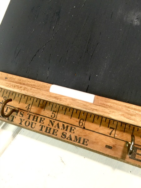 ruler and chalkboard cutting board makeover