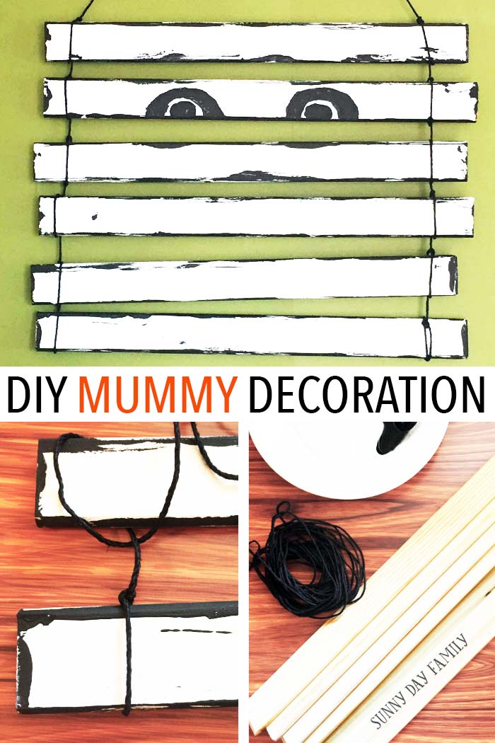 DIY Mummy Door Decoration! How cute is this Halloween craft? Such an easy Halloween decorating idea - kids will love it!