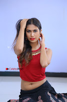 Telugu Actress Nishi Ganda Stills in Red Blouse and Black Skirt at Tik Tak Telugu Movie Audio Launch .COM 0168.JPG