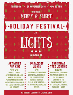 Flyer with information about the Holiday Festival of Lights in Yankton South Dakota